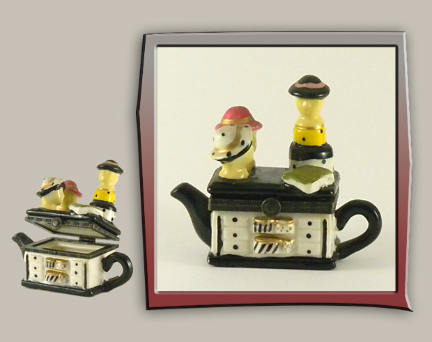 ceramic box with teapot ladies