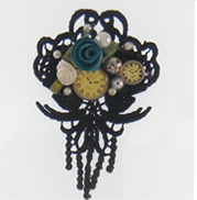 steampunl, roses and clocks brooch