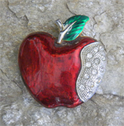 gorgeous enamel apple with crystals