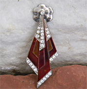 Unique enamel vintage brooch with red enamel and rhinestones