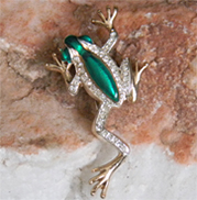 frog brooch leaps festive green enamel and small rhinestones