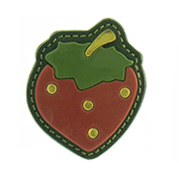 Bold strawberry brooch in leather