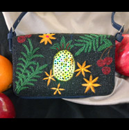 beads and sequins tropical clutch