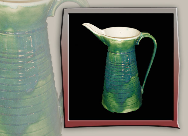 large ceramic green pitcher