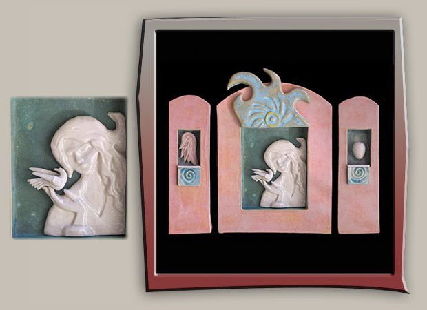 Stoneware angel triptych with dove