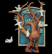 handmade ceramic wall plaque with tree, doves and two-headed lizard