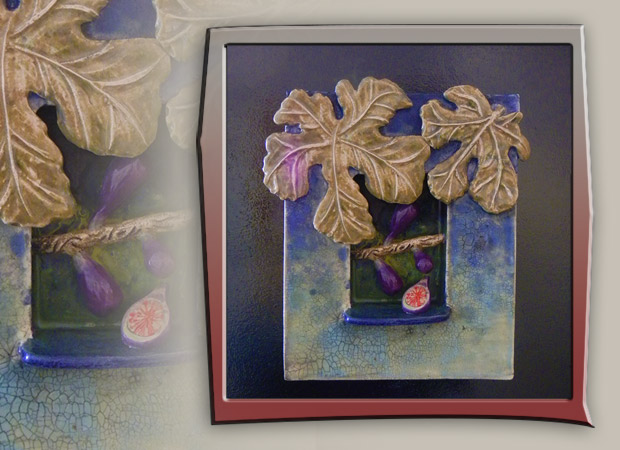 fig fruit in shadow box ceramic art with leaves and blue colors
