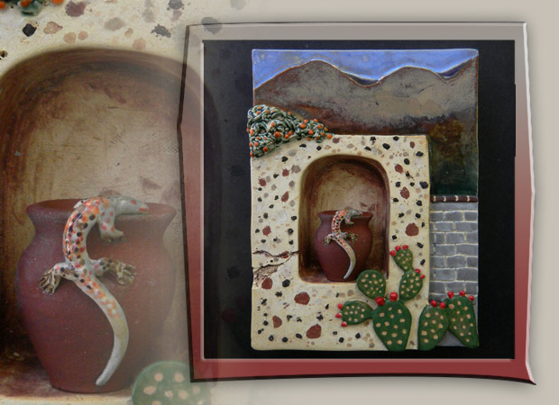 storybox with wall niche, aligator lizard and prickly pear cactus