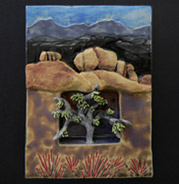 stoneware box depicts evening at Joshua Tree with gorgeous plant and rocky desert environment