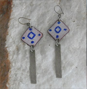 artistic enamel squares with sterling silver dangle earrings