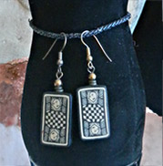 black and white checkered with faces earrings