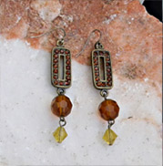amber studded rectangles with amber bead accent earrings
