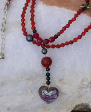 designer necklace with red crystals and fire beads