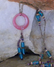 designer beaded necklace with pink and turquoise beads with chain