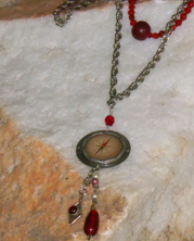 designer nautical feel necklace with metal compass charm