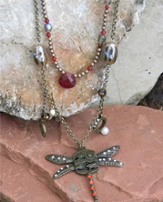 designer steampunk necklace with dragonfly pendant