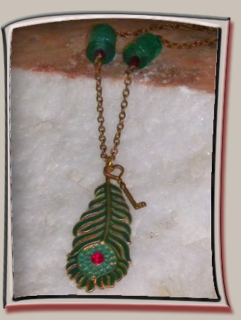 Enameled Peacock Feather Pendant
