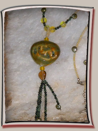 Necklace with Olive Green Ceramic Pendant