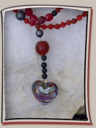 Venetian Glass Heart Pendant Necklace with Red Crystals