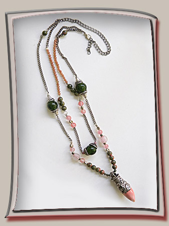 Necklace with Pink and Silver Talisman from Tibet