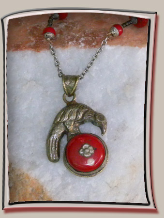 Raven and Red tree Sap Pendant with silver Plated backing