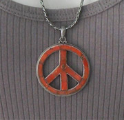 Sterling silver and enamel peace symbol pendant on chain