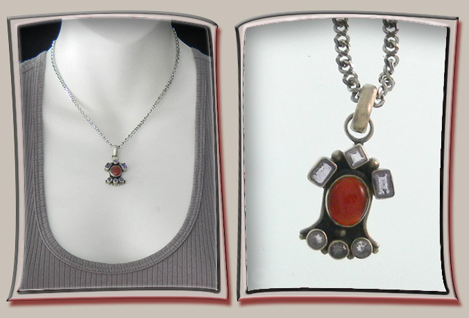 Sterling Silver Amulet with Red Stone