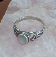 white mother of pearl in sterling silver ring