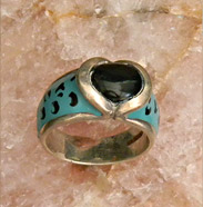 onyx ring with enamel design
