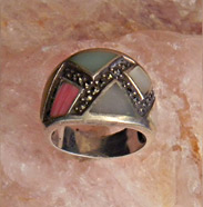 sterling silver ringwith colored enamels