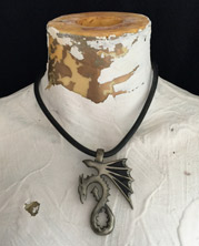 Goth dragon pendant on a leather choker