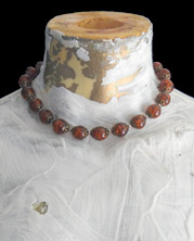 dright choker of sparkly amber-colored large bead balls