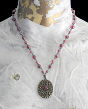 iridescent wine and lavender bead necklace on wire-wrapped chain